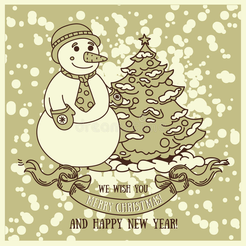 Cute card for christmas with smiling snowman vector illustration