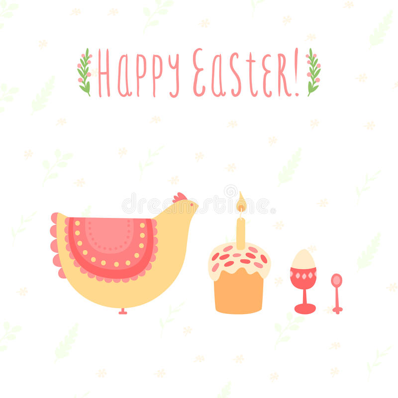 Cute card for Easter with chicken, cakes and eggs stock illustration