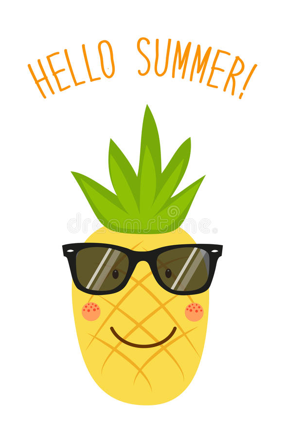 Charmant Download Cute Card Hello Summer As Funny Hand Drawn Cartoon Character Of  Pineapple Stock Vector