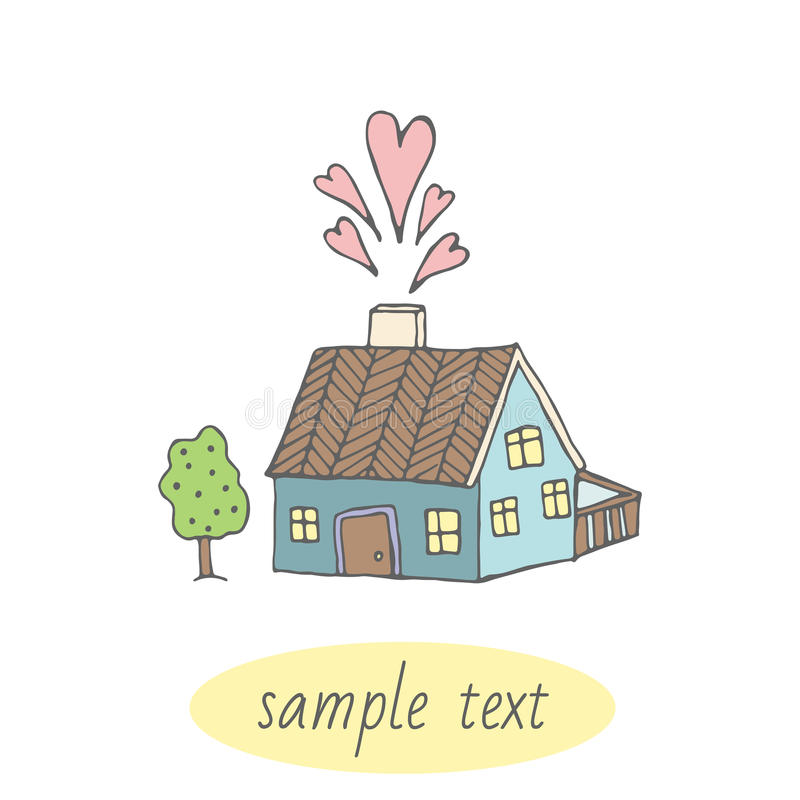 Cute card with home. Home sweet home. Vector stock photo