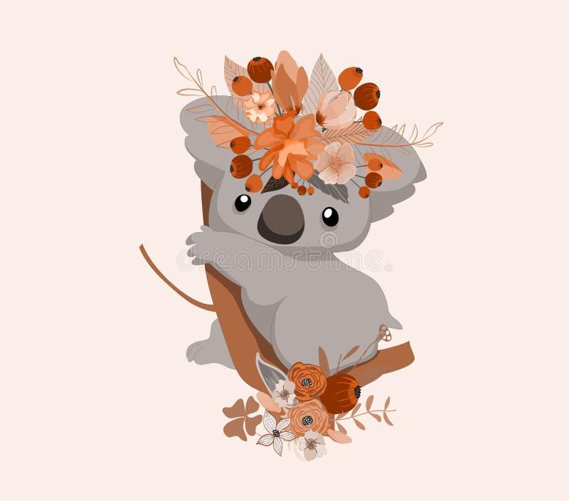 Cute card with lovely koala. Koala in a wreath of flowers stock illustration
