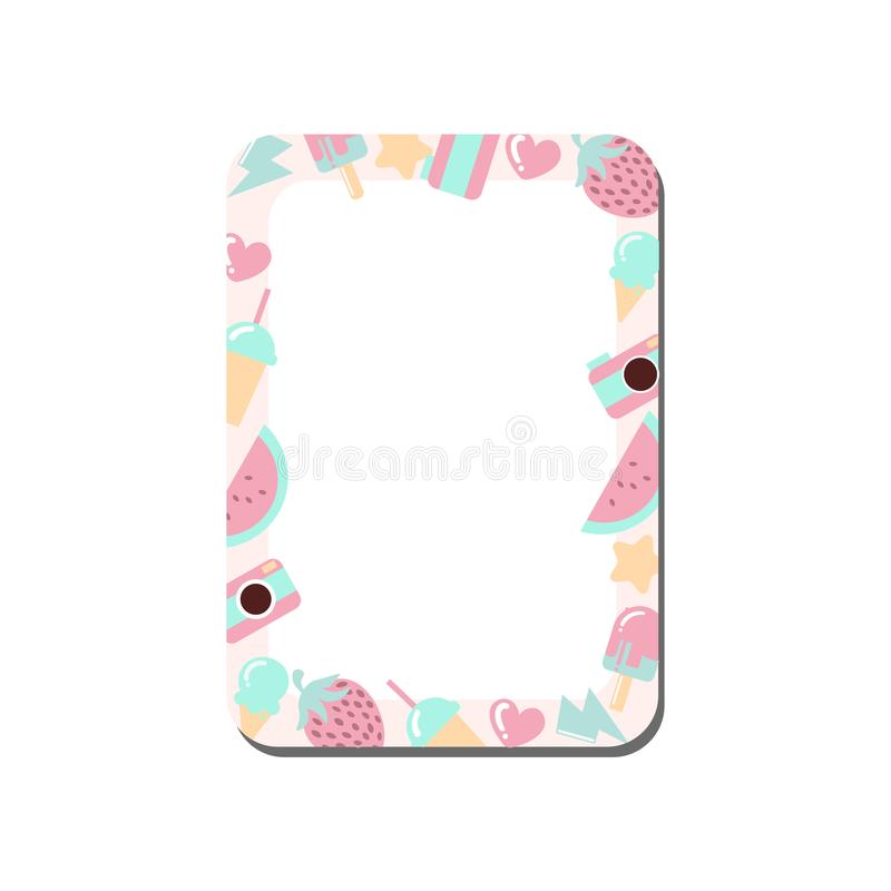 Cute Card with Place for Notes Decorated with Sweets, Trendy Lined Template Can Be Used for Photo Album, Calendar Daily Planner,. Note Paper, Organizer vector illustration
