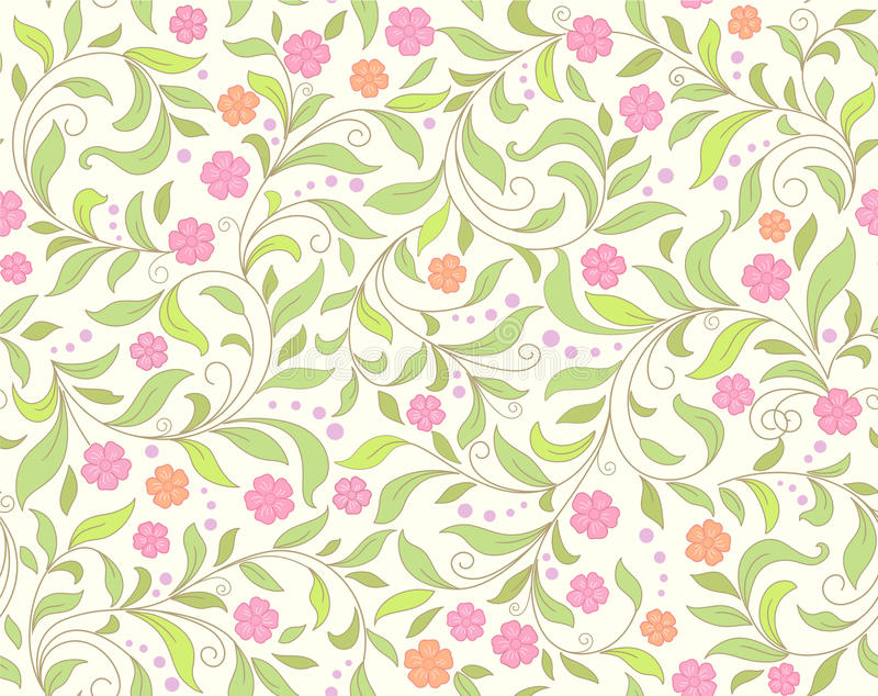 Cute card with roses. Seamless green abstract floral background vector illustration
