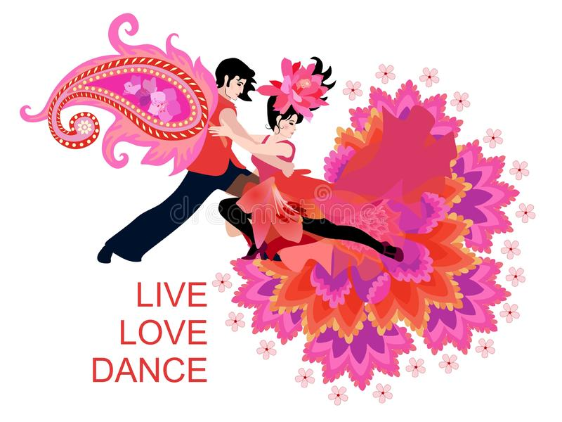 Cute card with tango dancers in bright fantasy costumes, decorated paisley and flowers. International Dance Day. Concert poster. stock illustration