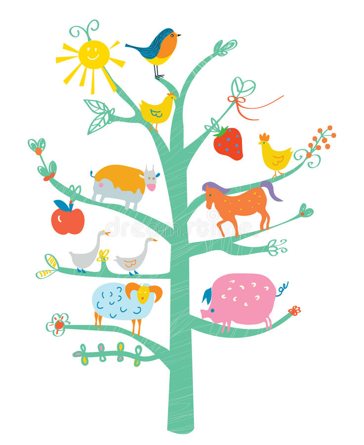 Cute card with tree and animals for kids stock illustration
