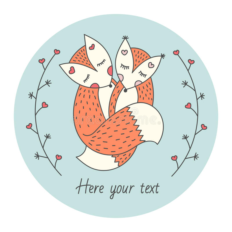Cute card with Two foxes. Love between animals. Abstract branches on each side. Vector royalty free stock image