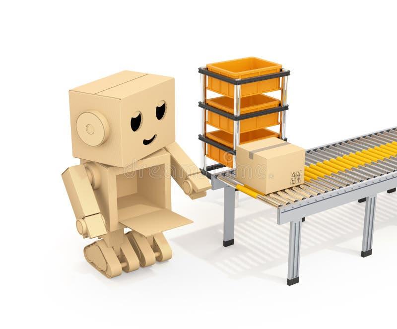 Cute Cardboard Robot picking up cardboard parcel from conveyor belt vector illustration