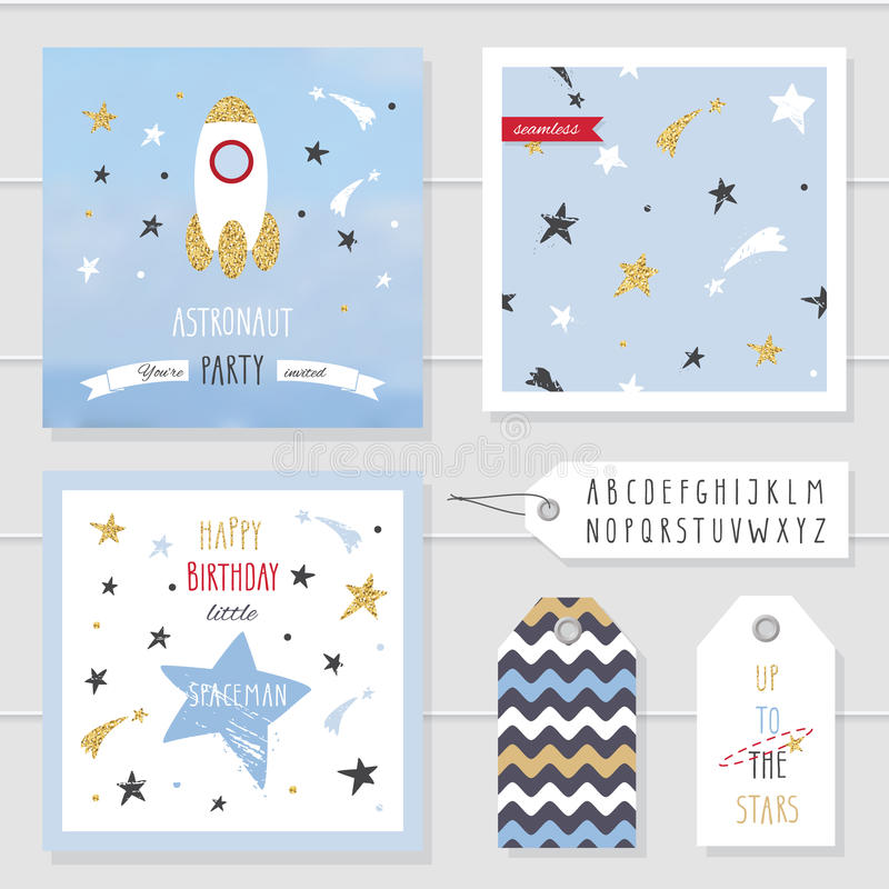 Cute Cards And Badges With Gold Confetti Glitter For Kids For Space