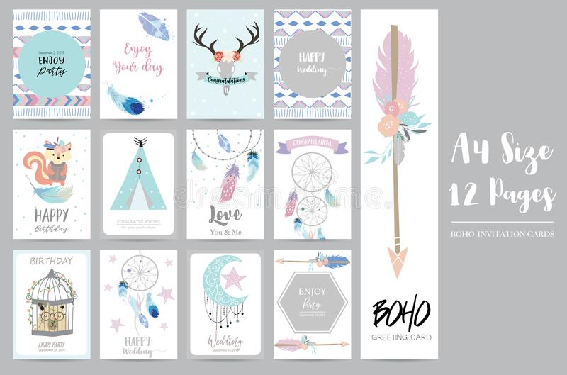 Cute cards for banners,Flyers,Placards with feather,squirrel vector illustration
