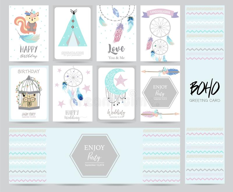 Cute cards for banners,Flyers,Placards with cartoon boho vector illustration