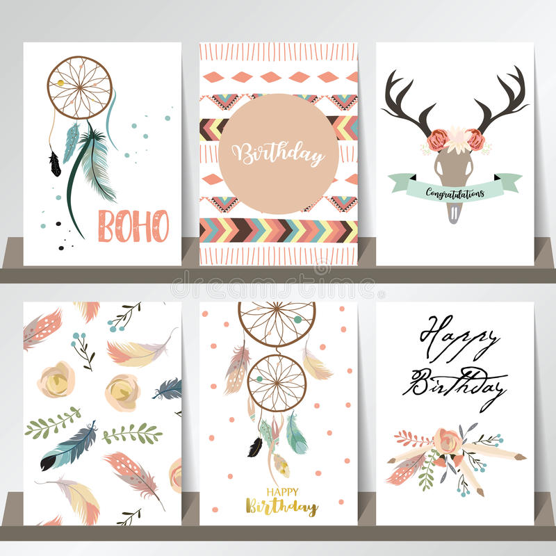 Cute cards for banners,Flyers,Placards with feather royalty free illustration