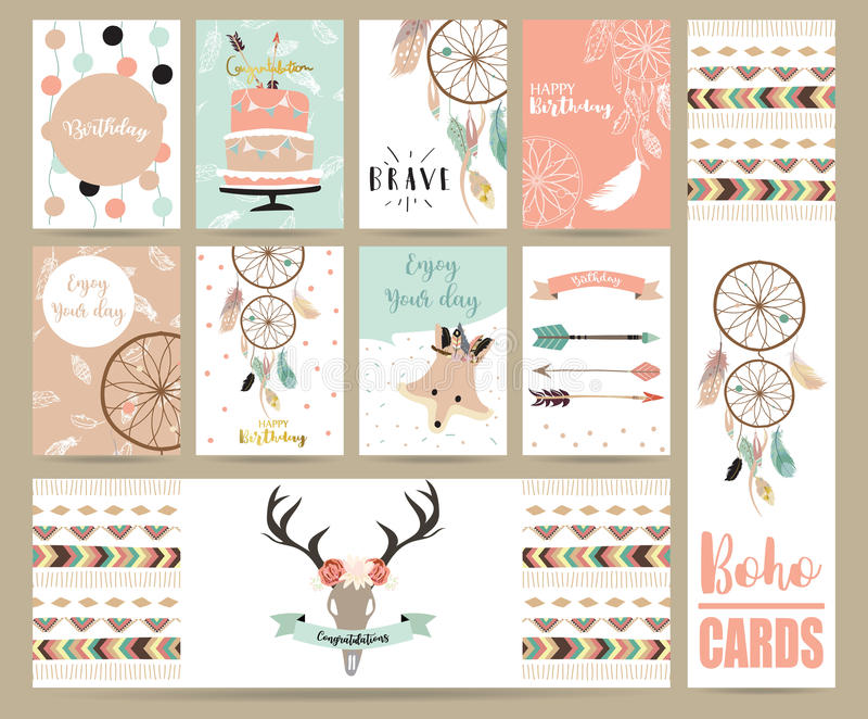 cute cards for banners,Flyers,Placards with feather,fox,cake,wild and arrow in boho style royalty free illustration