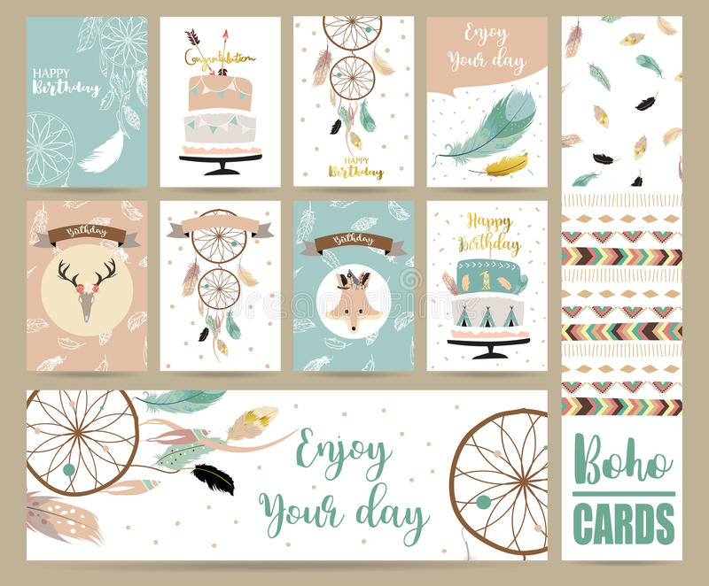 Cute cards for banners,Flyers,Placards with feather,fox,cake stock illustration
