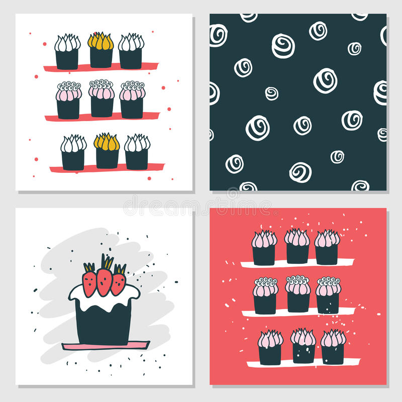 Cute cards Delicious food dessert Cupcake Birthday cake Seamless background royalty free illustration