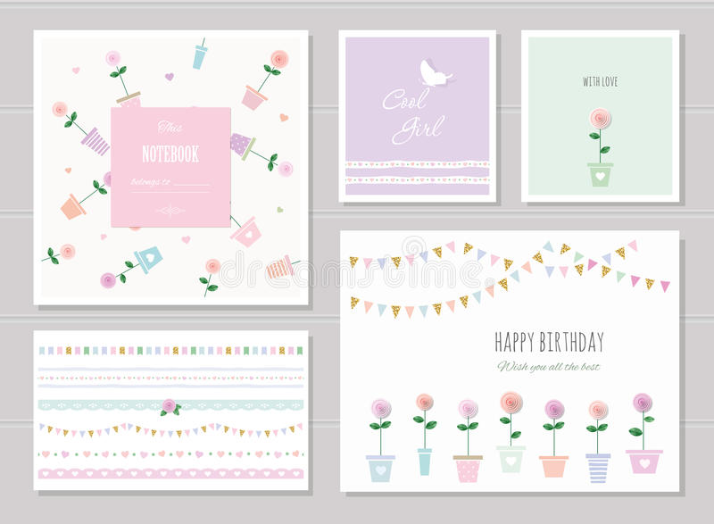 Cute cards for girls. Can be used for baby shower, birthday, babies clothes. Notebook cover design. Ribbons, garlands, patterns with gold glitter elements stock illustration
