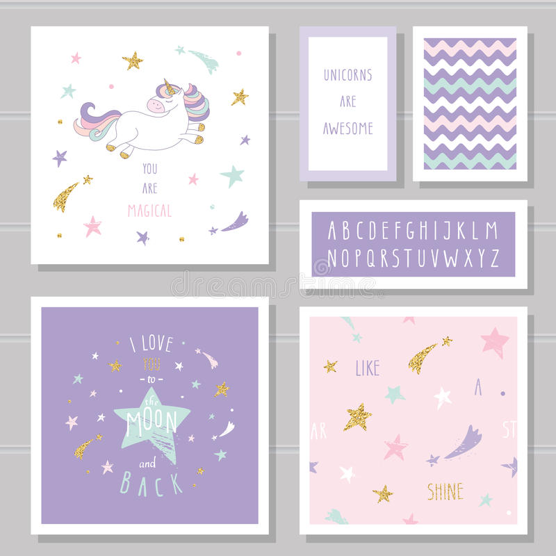 Cute cards with unicorn and gold glitter stars. For birthday invitation, baby shower, Valentine`s day. royalty free illustration