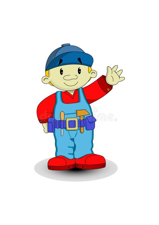 Cute carpenter in work clothes waved his hand. stock illustration