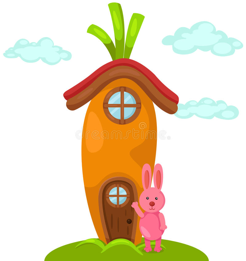 Cute carrot house with rabbit. Illustration of isolated cute carrot house with rabbit vector illustration