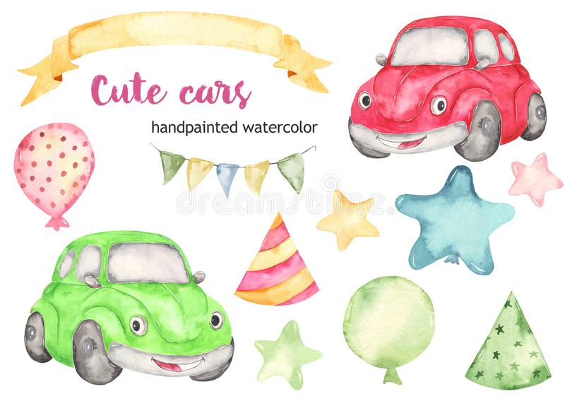 Cute cars beetle and birthday balloons watercolor clipart set. Watercolor collection Cute cars beetle for a boys. Cartoon illustartions stars, balloons, flags vector illustration