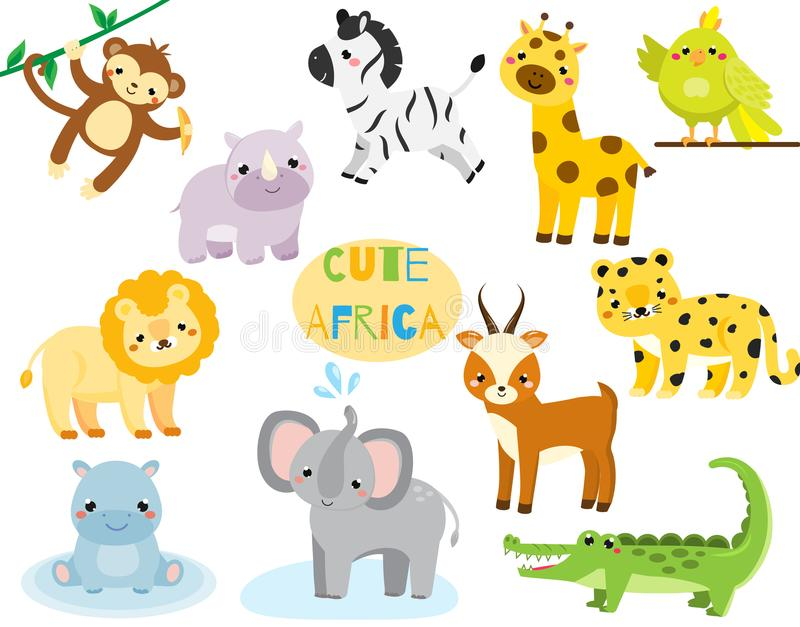 Cute cartoon african animals set. Monkey, rhion, lion and other savannah wildlife for kids and children royalty free illustration