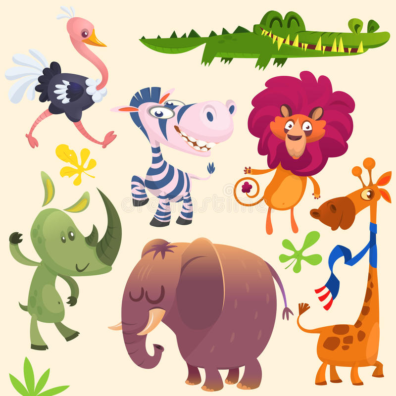 Cute cartoon african animals set. Vector illustrations of crocodile alligator, giraffe, rhino, zebra, ostrich, lion and elephant royalty free illustration