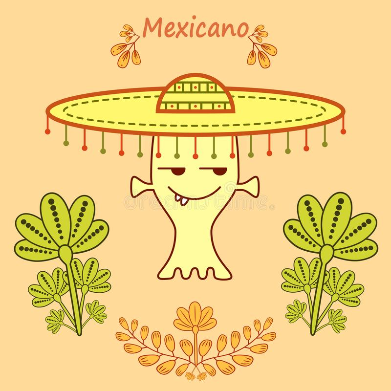 Cute cartoon alien in mexican style with a big mariachi hat. Pastel green,yellow and orange colors.Branches, leaves and a phrase Mexicano.Vector illustration vector illustration