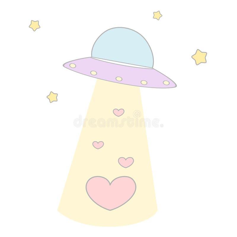 Cute cartoon alien spaceship abducts hearts funny concept illustration vector illustration