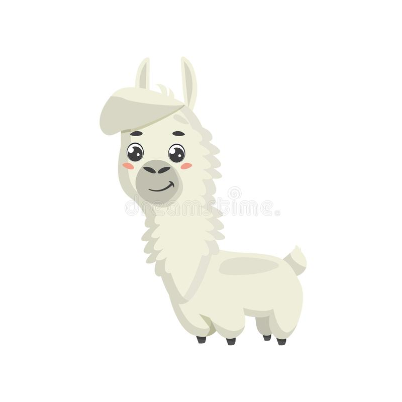 Cute cartoon alpaca. Vector illustration. Isolated on white background.  royalty free illustration