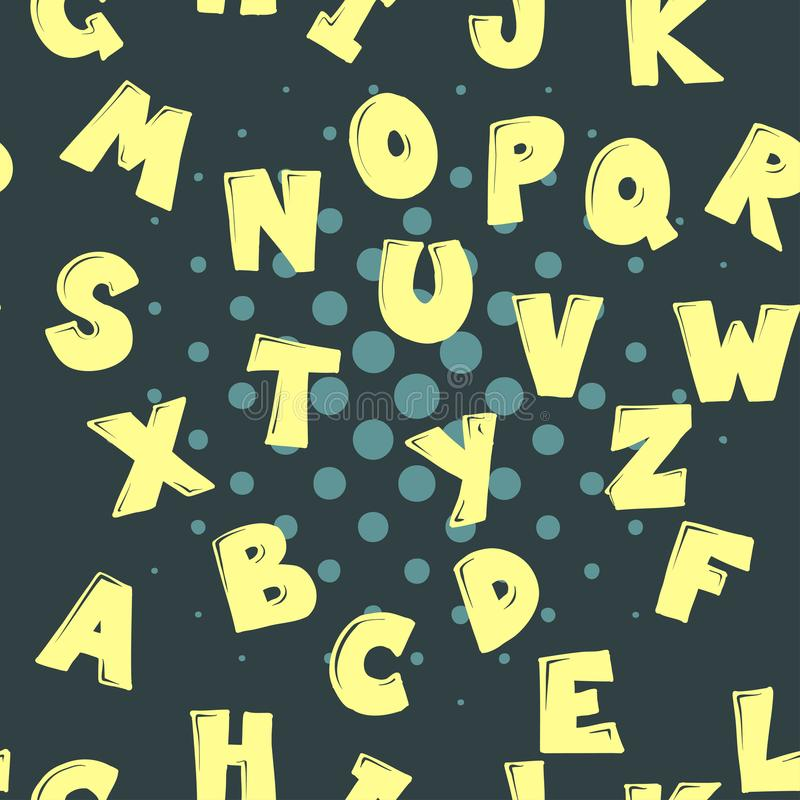 Cute cartoon alphabetic letters seamless pattern in retro style. Pattern can be used for scrap booking, posters, school. Projects vector illustration