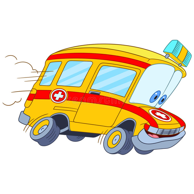 Cute cartoon ambulance car royalty free stock photos