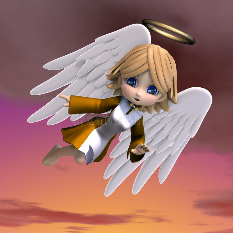 Cute cartoon angel with wings and halo. 3D stock illustration