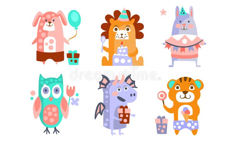 Cute Cartoon Animal Characters Set, Childish Birthday Party Design, Hund, Löwe, Hasen, Owl, Dragon, Tiger Vector stock abbildung