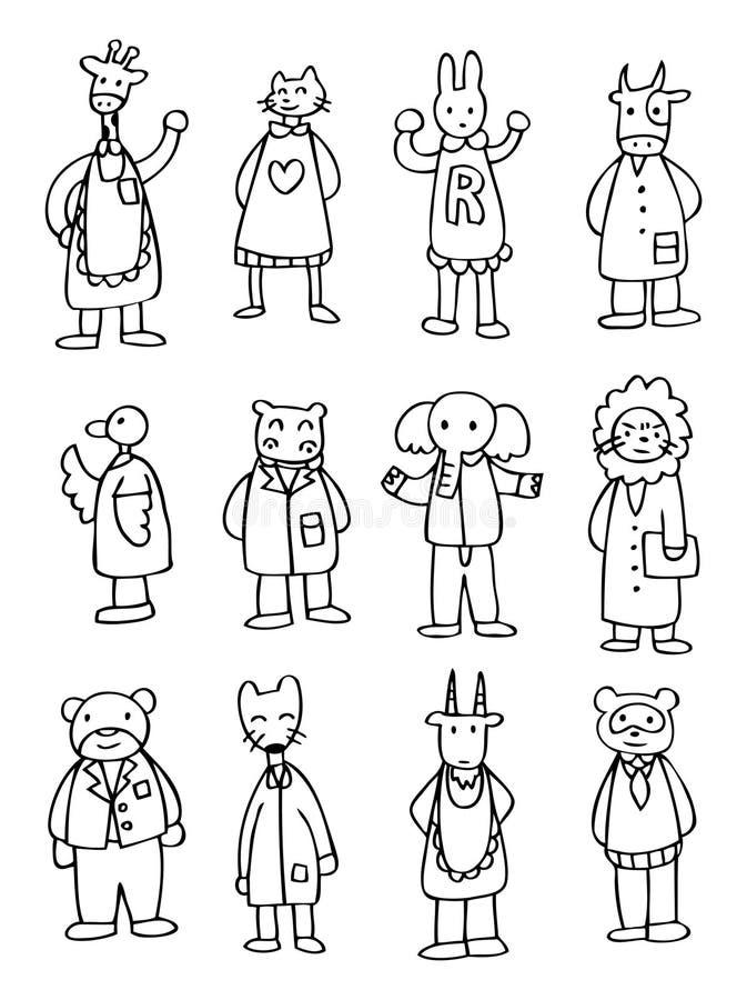 Cute cartoon animal doctor vector illustration