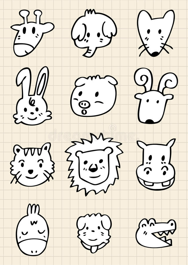 Cute cartoon animal face royalty free illustration