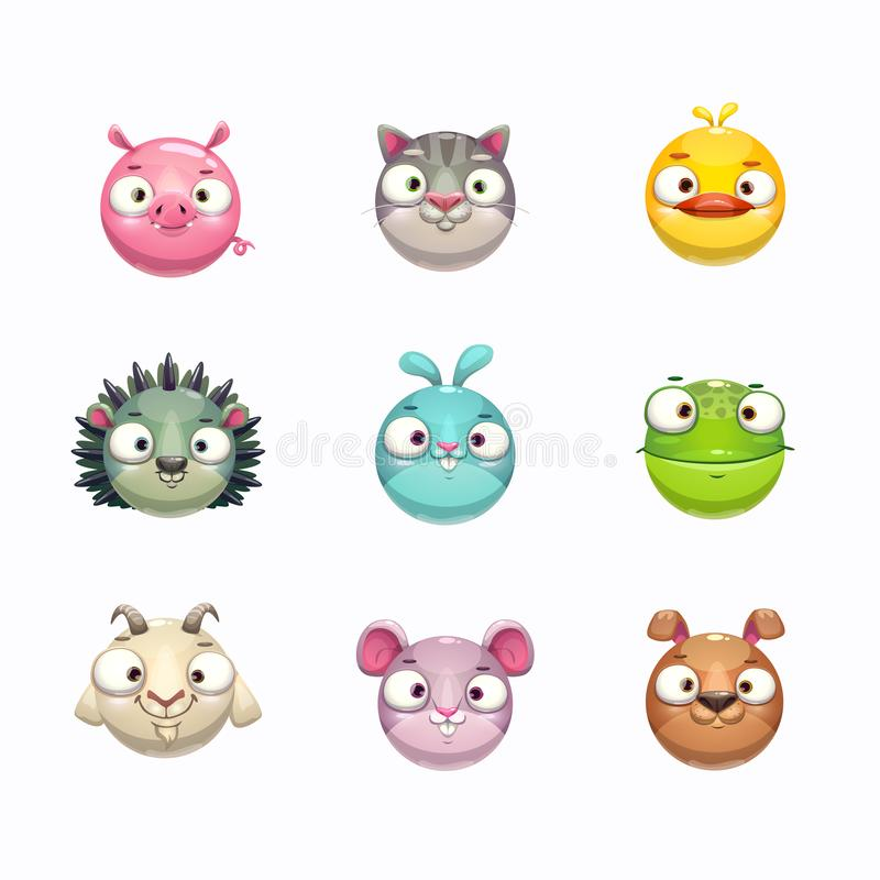 Cute cartoon animal face icons set. Isolated on white background. vector illustration