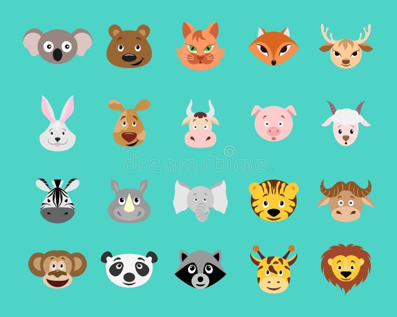 Cute cartoon animal head  icon set. stock illustration
