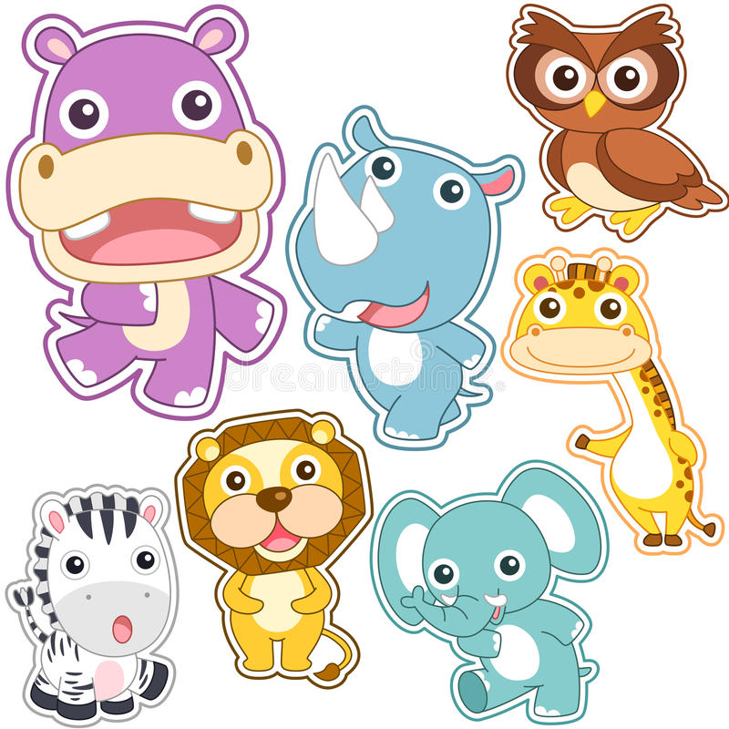 Cute cartoon animal set royalty free stock images
