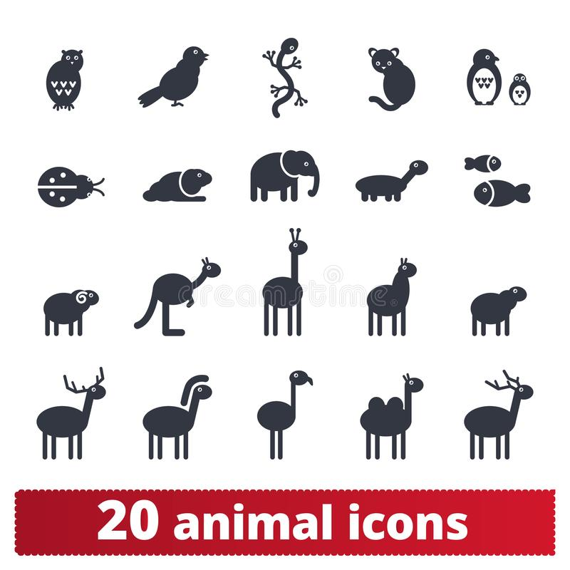 Cute Cartoon Animal Silhouette Icons. Animal icons. Cartoon character cute illustration. Vector set of simple silhouettes of wildlife and domestic pets. Isolated vector illustration