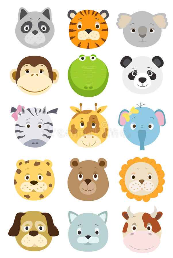 Cute cartoon animals faces set royalty free illustration