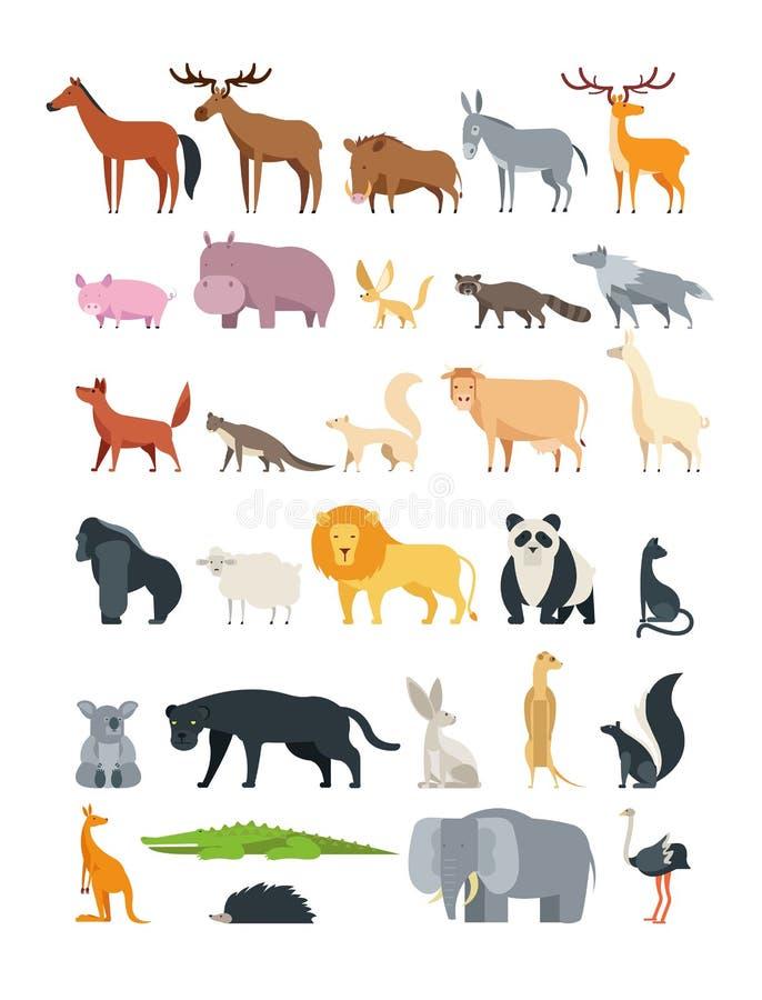 Cute cartoon animals. Forest, savannah and farm animal vector collection isolated on white vector illustration