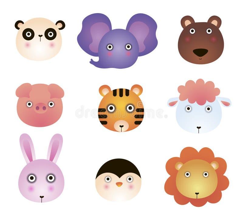Cute cartoon animals, panda, elephant, bear, toy, tiger, lamb, lion, bunny. Cartoon zoo of cute animals vector illustration