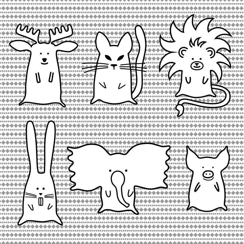 Cute cartoon animals set stock illustration