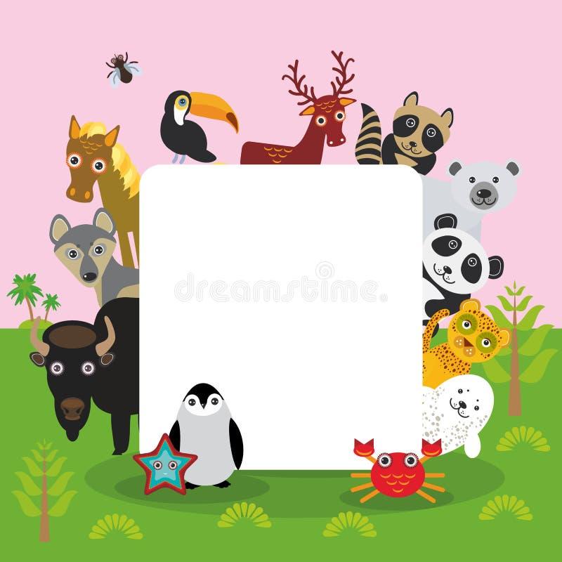 Cute Cartoon animals set toucan deer raccoon horse wolf Bison Penguin starfish crab seal leopard panda polar bear, frame, card des. Ign, banner for text. Vector stock illustration