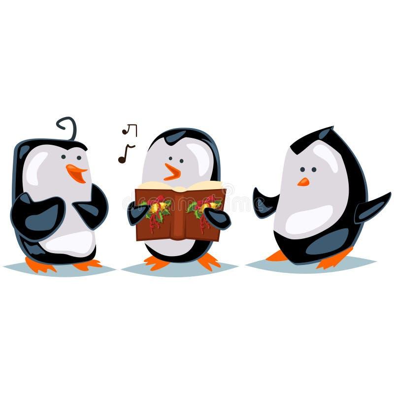 Cute cartoon animals sing Christmas carols. penguins Vector character stock images