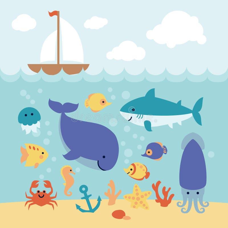 Cute cartoon animals swimming under the sea and boat. Cute cartoon sea animals swimming under the sea and boat on the waves. Art vector Illustration stock illustration