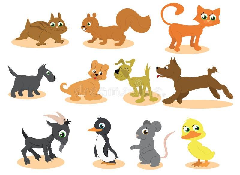 Cute cartoon animals vector stock illustration