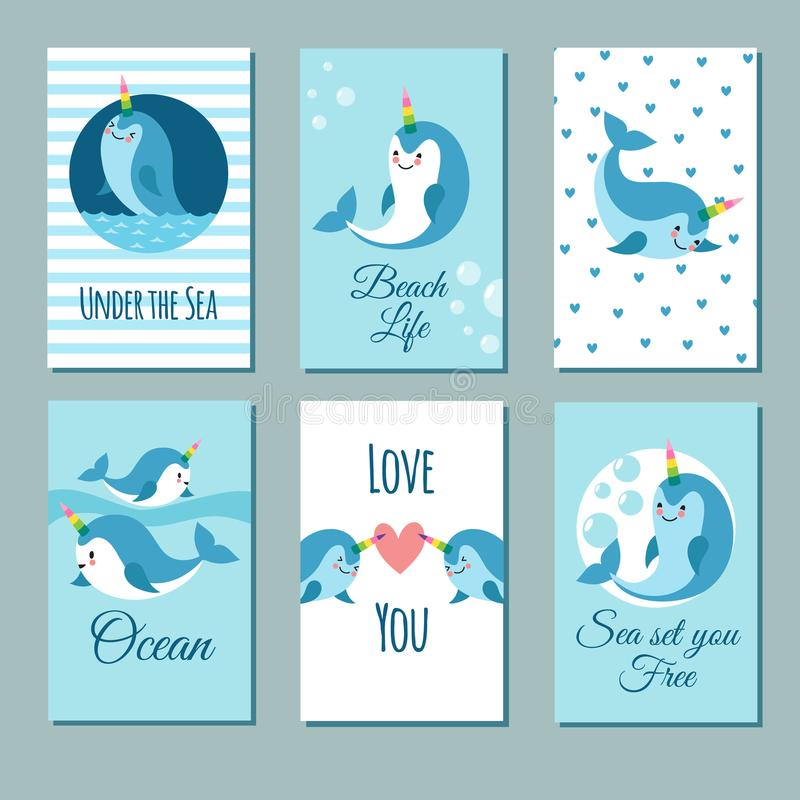 Cute cartoon anime narwhal romance cards. Posters with funny kawaii baby unicorn whale vector characters. Illustration of banner with sea animal template stock illustration
