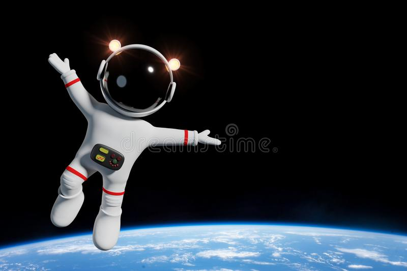 Cute cartoon astronaut character in orbit of the planet Earth 3d illustration. Space adventure of an adorable cartoon character with white space suit in orbit of royalty free illustration