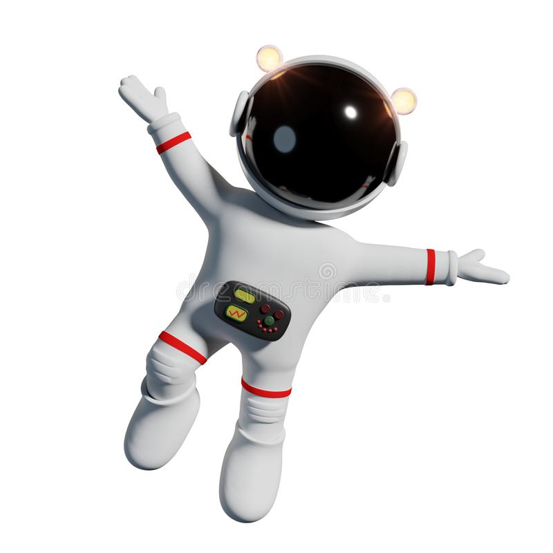 Cute cartoon astronaut in white space suit is happy in zero gravity space 3d render, isolated on white background. Space adventure of an adorable cartoon royalty free illustration