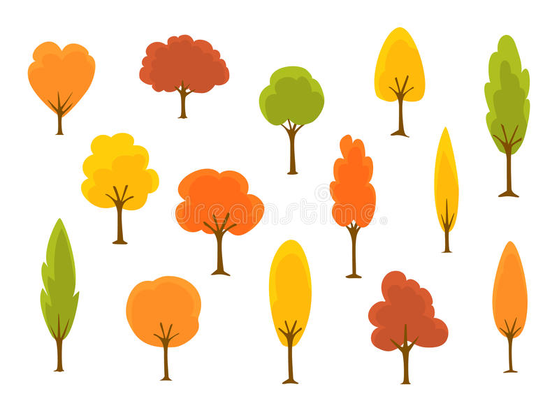 Cute cartoon autumn fall trees collection vector illustration